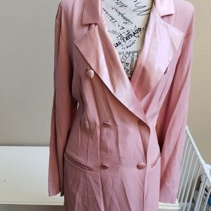 Pink 3piece tuxedo suit, jacket, skirt and pants.
